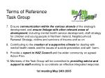 terms of reference task group15