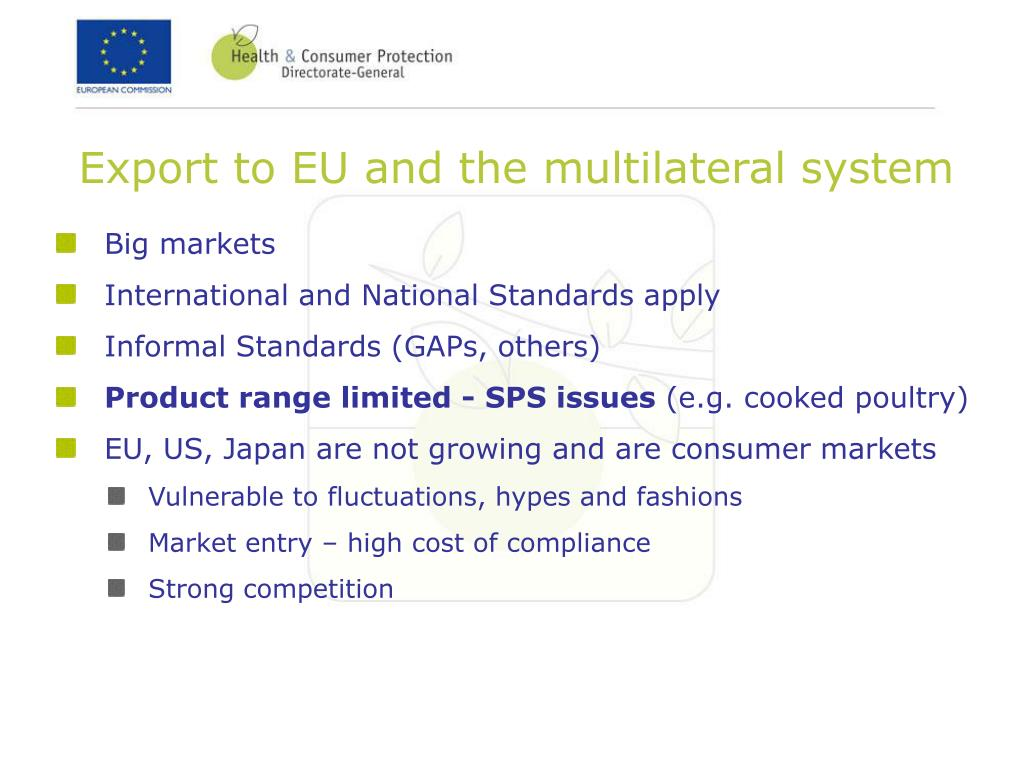 Export to EU and the multilateral system