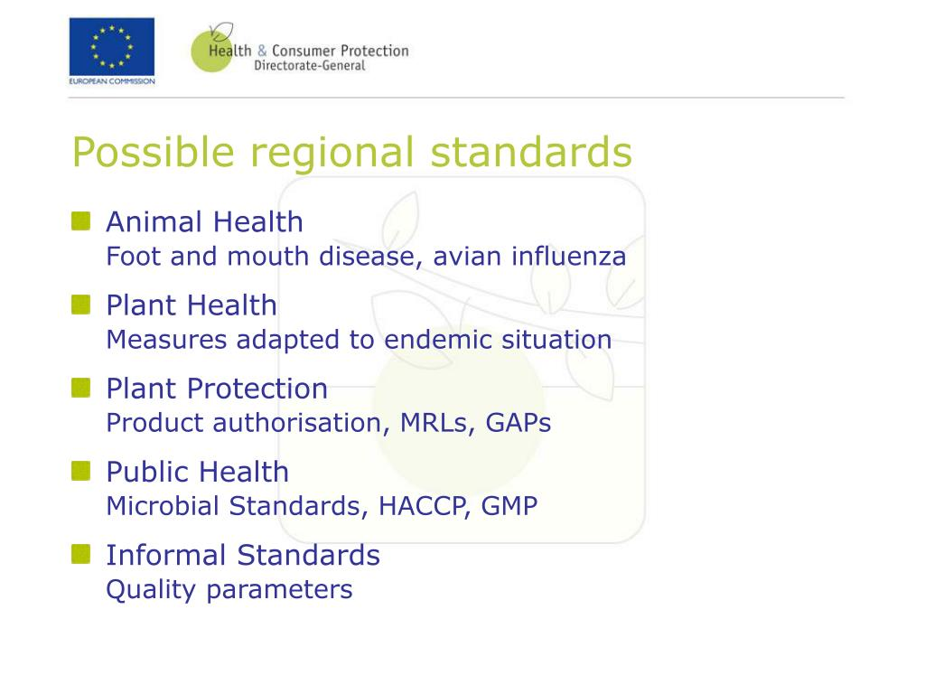 Possible regional standards