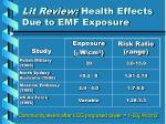 lit review health effects due to emf exposure