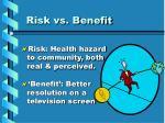 risk vs benefit