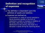 definition and recognition of expenses