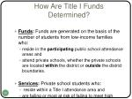 how are title i funds determined