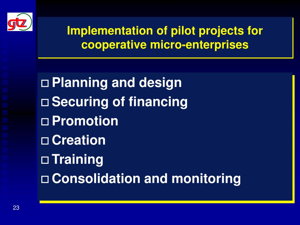 Implementation of pilot projects for cooperative micro-enterprises
