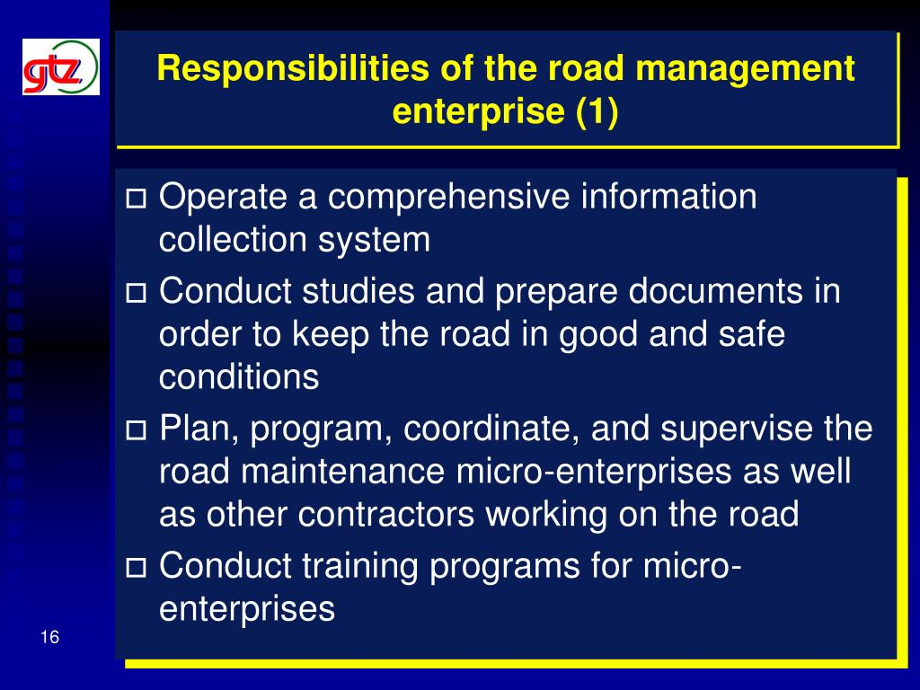 Responsibilities of the road management enterprise (1)