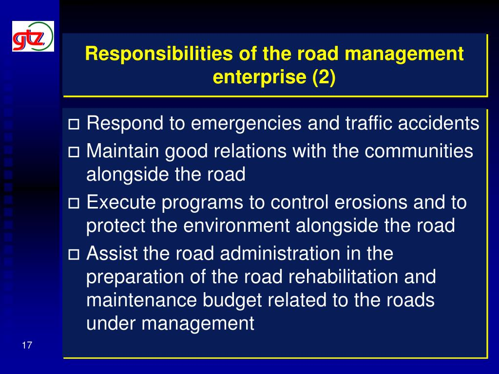 Responsibilities of the road management enterprise (2)