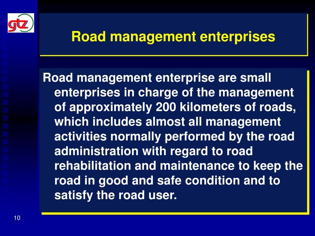 Road management enterprises