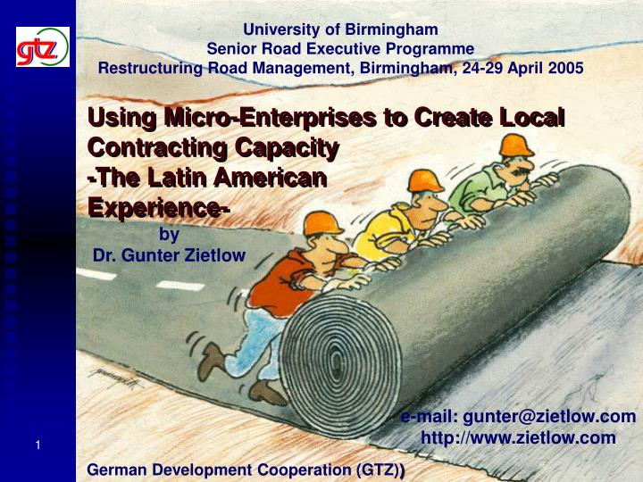 Using micro enterprises to create local contracting capacity the latin american experience