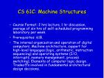 cs 61c machine structures