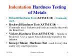 indentation hardness testing of metals