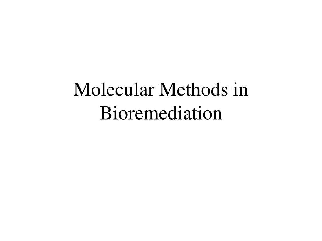 Molecular Methods in Bioremediation