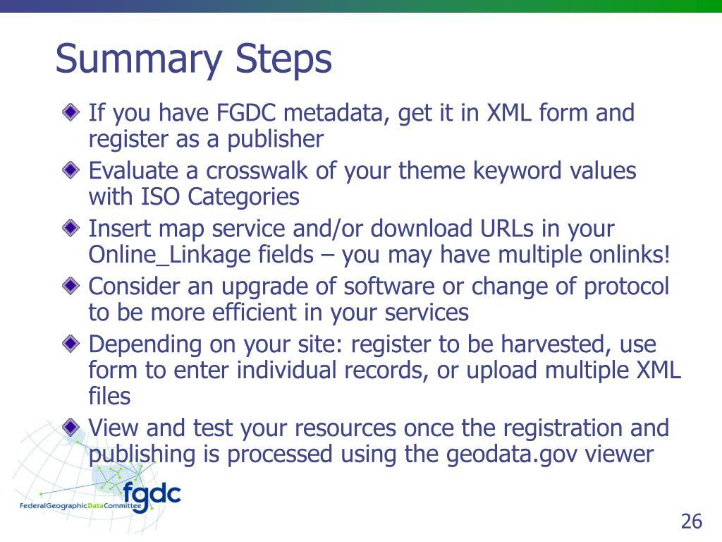 Summary Steps