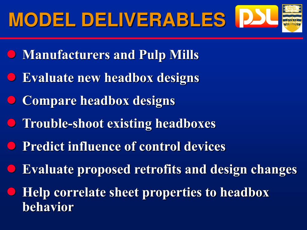 MODEL DELIVERABLES
