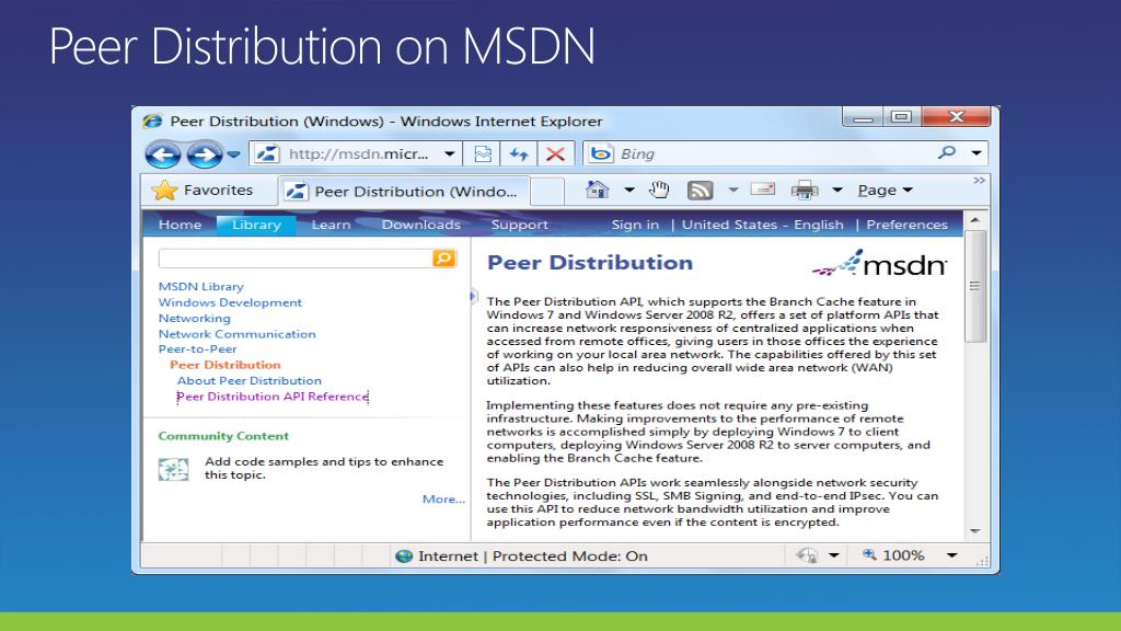 Peer Distribution on MSDN
