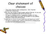 clear statement of choices