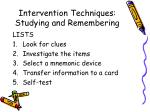 intervention techniques studying and remembering