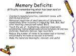 memory deficits difficulty remembering what has been said or demonstrated