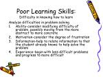 poor learning skills difficulty in knowing how to learn19