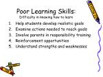 poor learning skills difficulty in knowing how to learn21