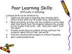 poor learning skills difficulty in listening