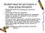 student does not participate in large group discussion