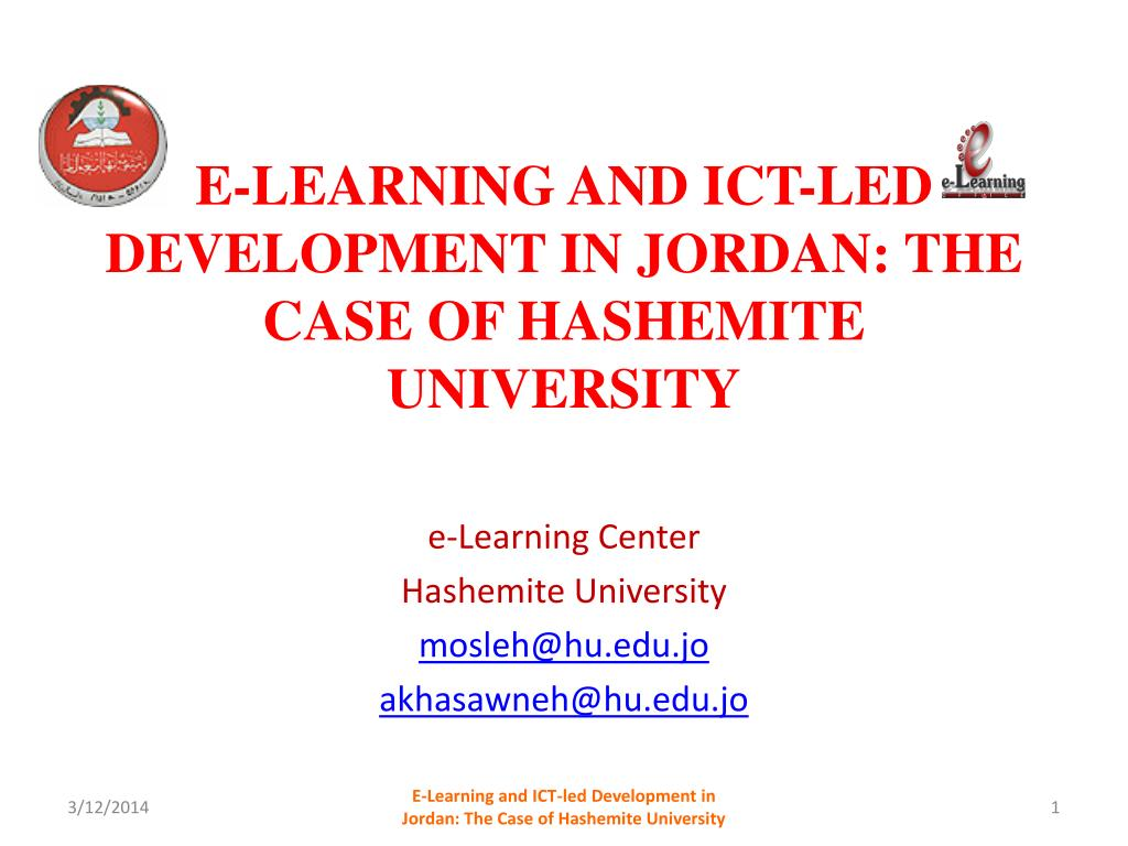 e learning and ict led development in jordan the case of hashemite university