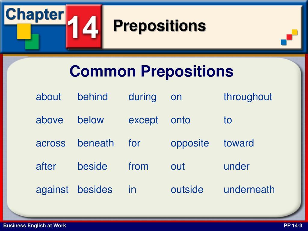 Common Prepositions