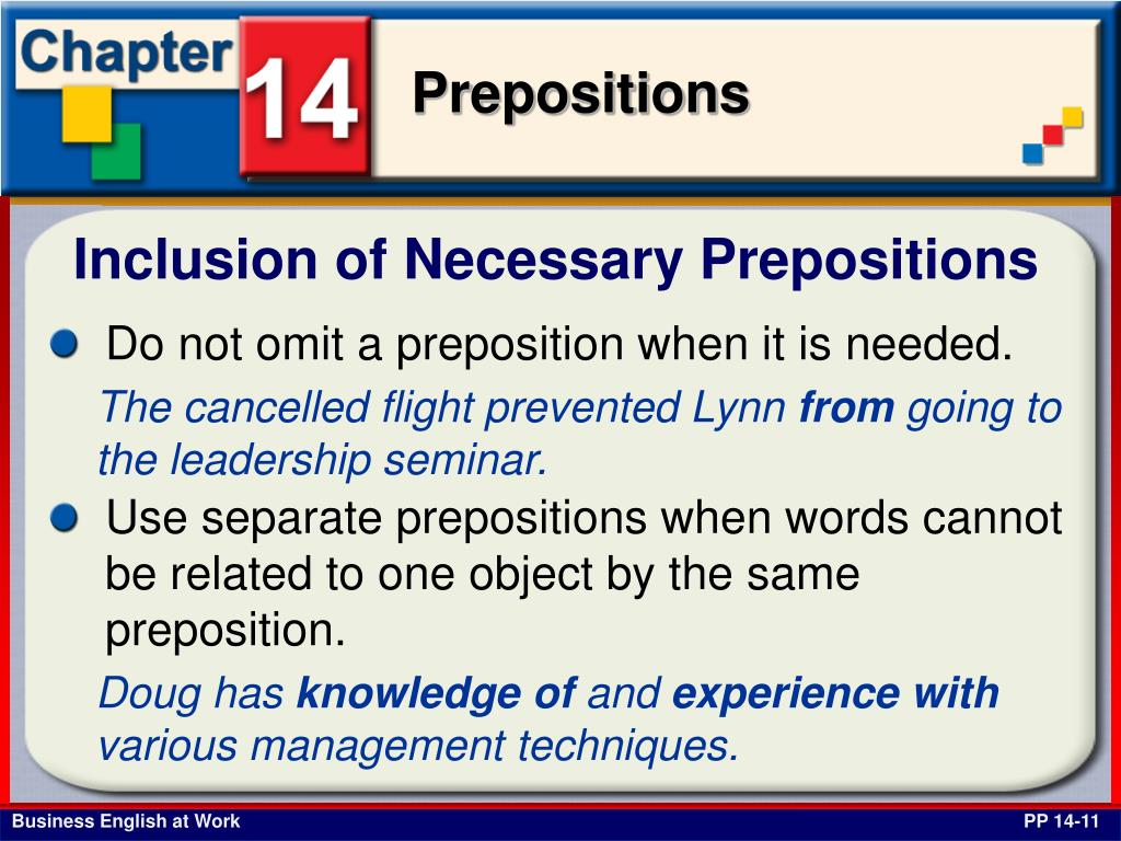 Inclusion of Necessary Prepositions