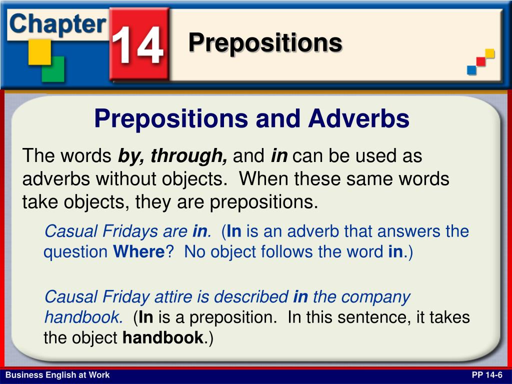 Prepositions and Adverbs