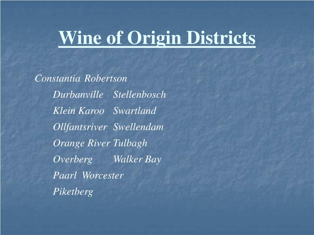 Wine of Origin Districts