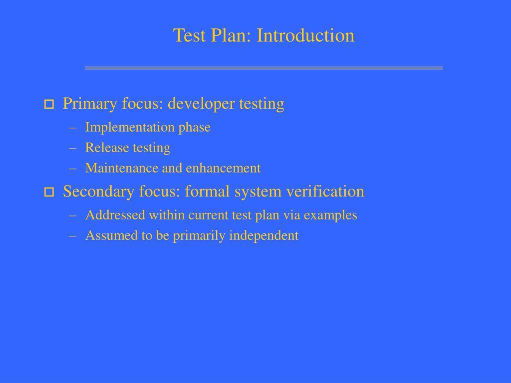 test plan introduction