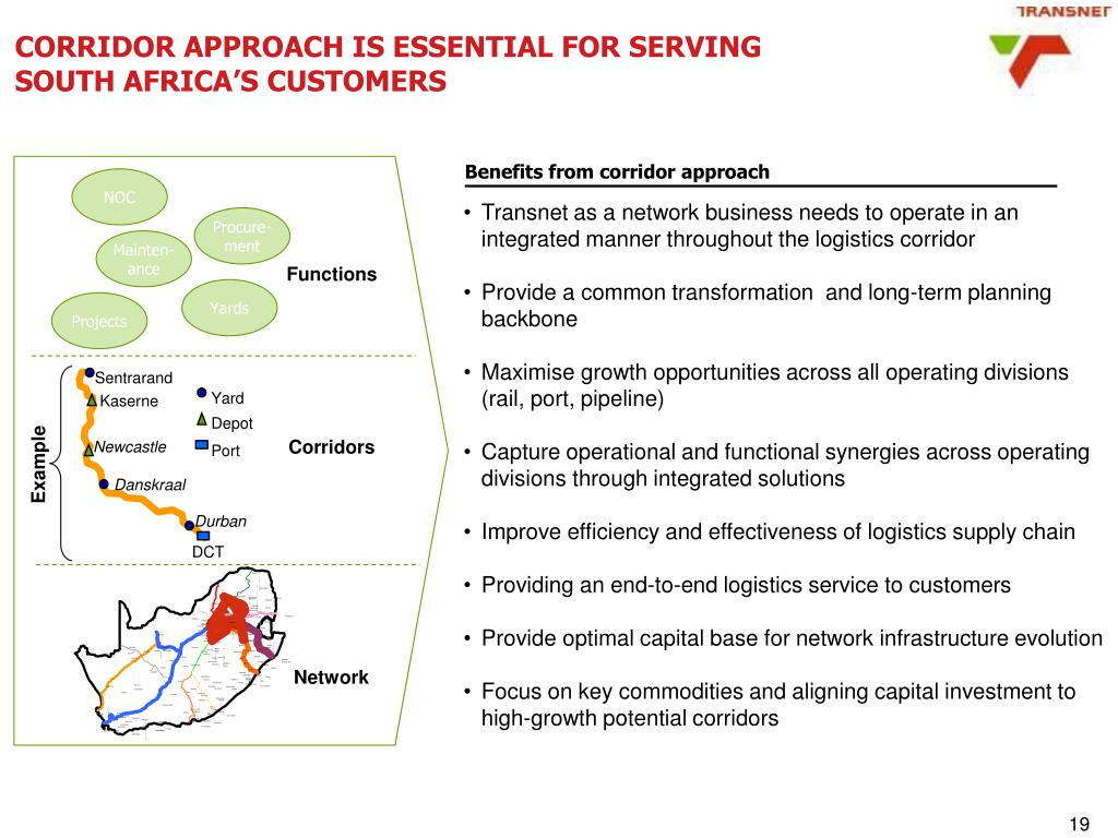 CORRIDOR APPROACH IS ESSENTIAL FOR SERVING SOUTH AFRICA'S CUSTOMERS