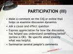 participation iii