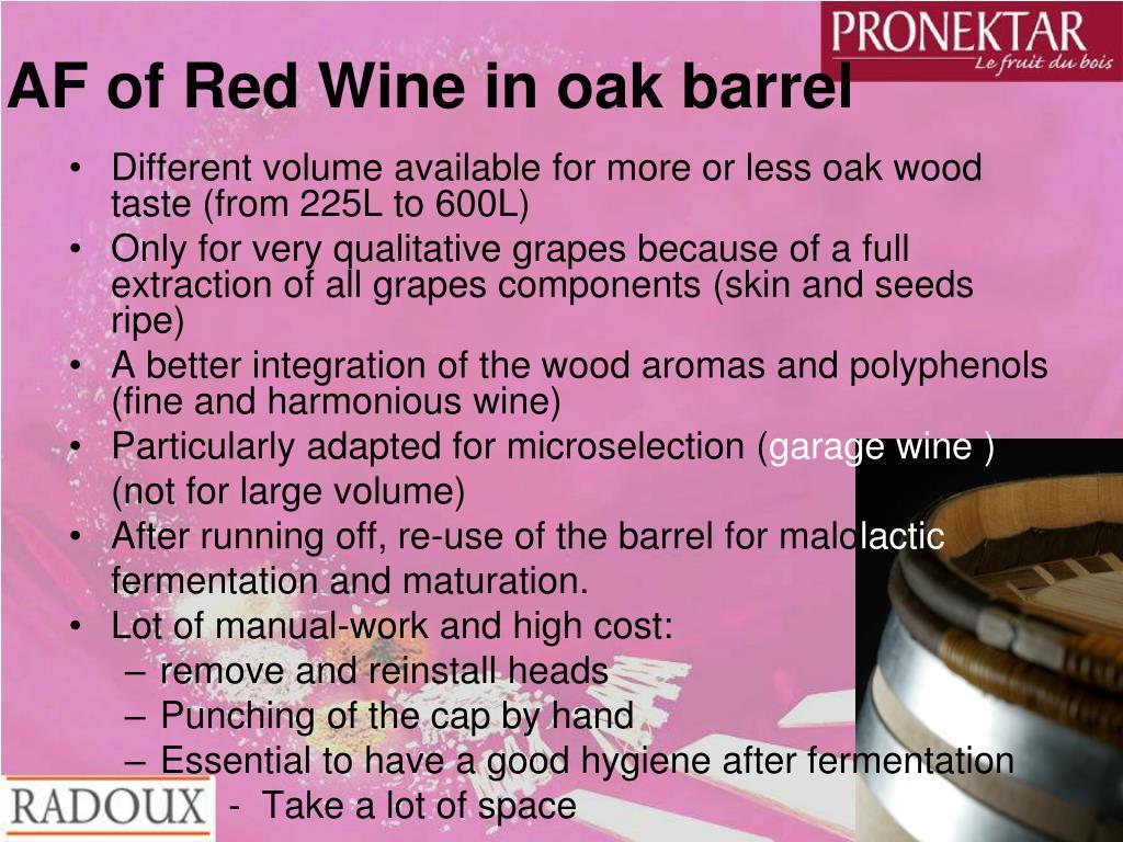 AF of Red Wine in oak barrel