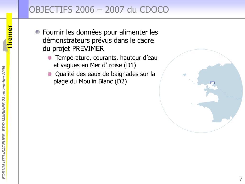 OBJECTIFS 2006 – 2007 du CDOCO
