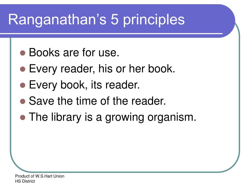 Ranganathan's 5 principles