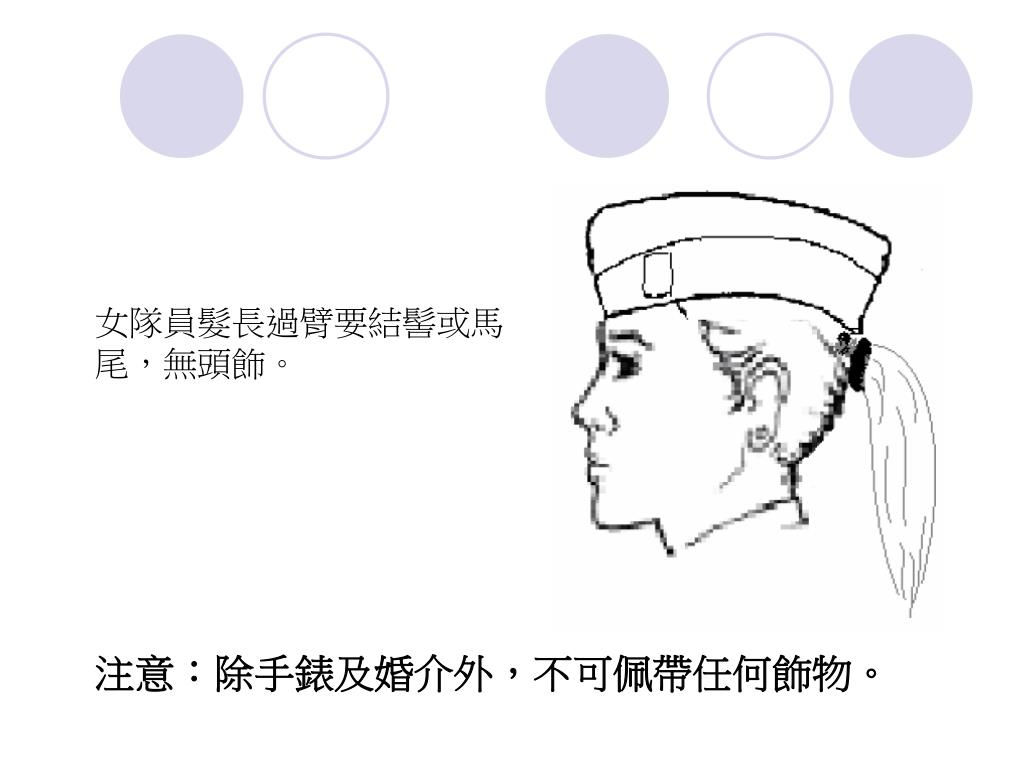 女隊員髮長過臂要結髻或馬尾,無頭飾。