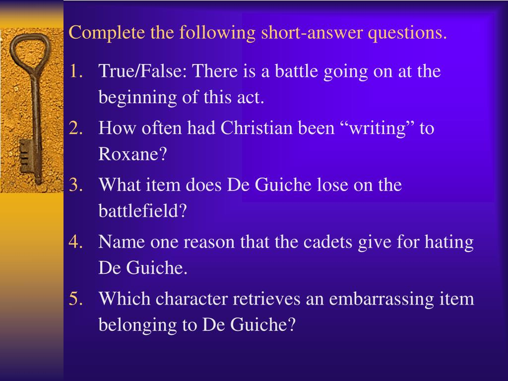 Complete the following short-answer questions.