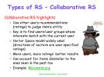 types of rs collaborative rs