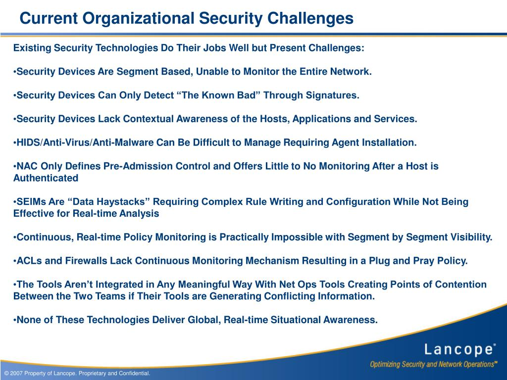 Current Organizational Security Challenges
