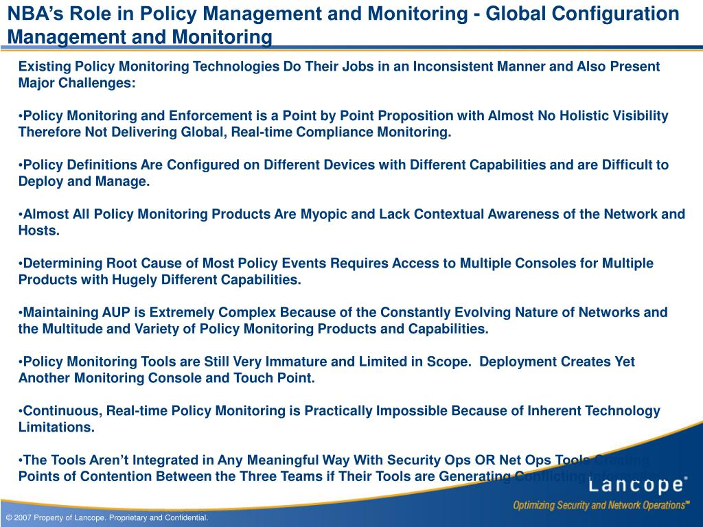 NBA's Role in Policy Management and Monitoring - Global Configuration Management and Monitoring