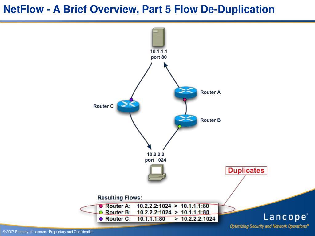 NetFlow - A Brief Overview, Part 5 Flow De-Duplication