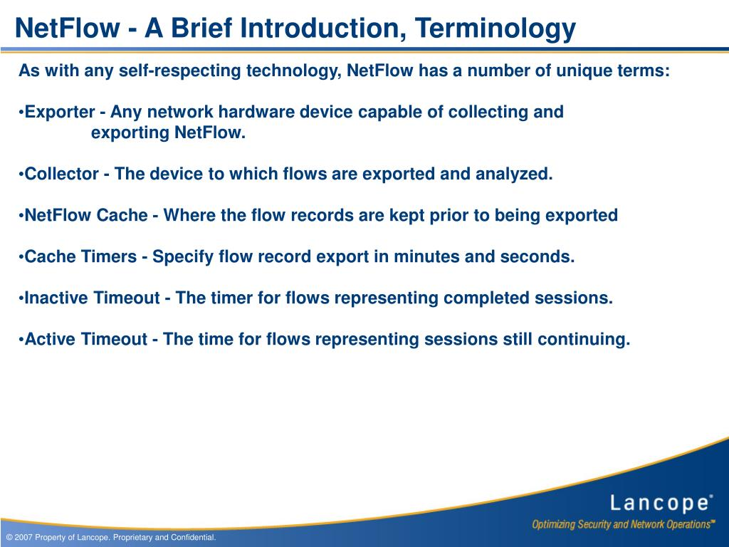 NetFlow - A Brief Introduction, Terminology