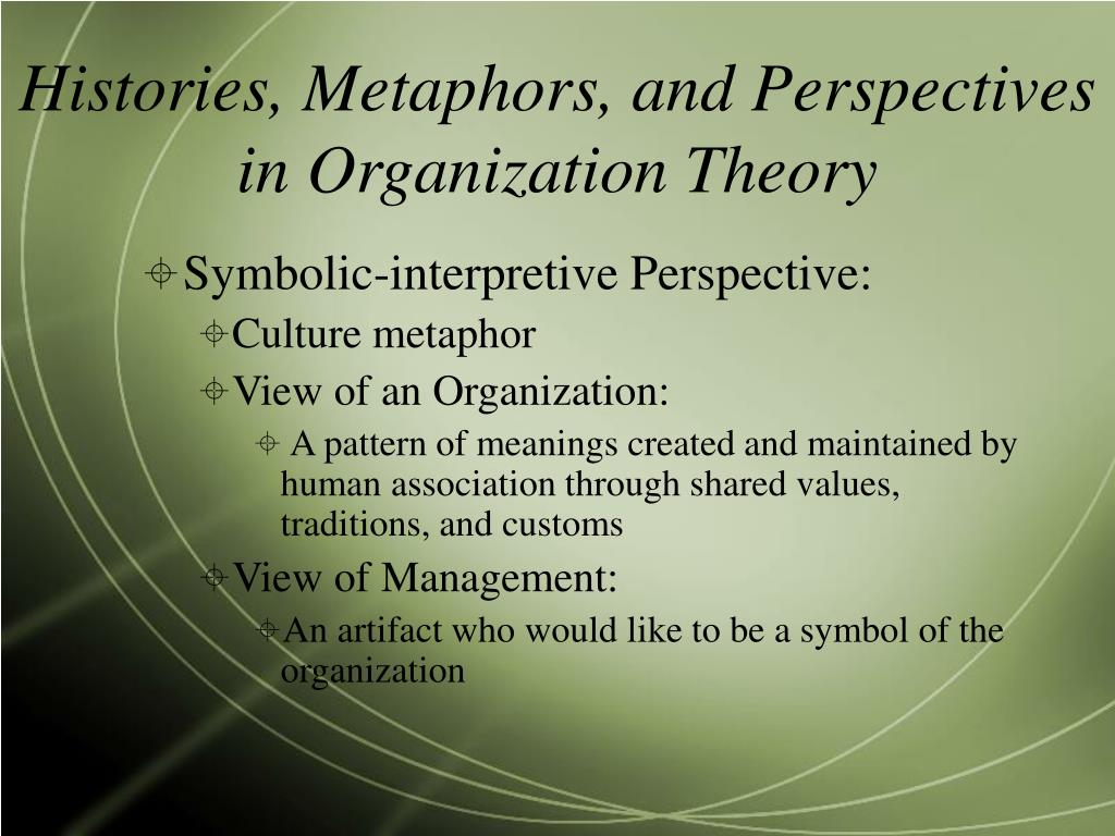 summary of a theory for metaphor The eight metaphors of organization the main reason this book is hugely valuable is that 99% of organizational conversations stay exclusively within one metaphor it surveys and contextualizes a lot of work by others in organizational theory bits of it can be tedious and too.