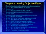 chapter 3 learning objective menu