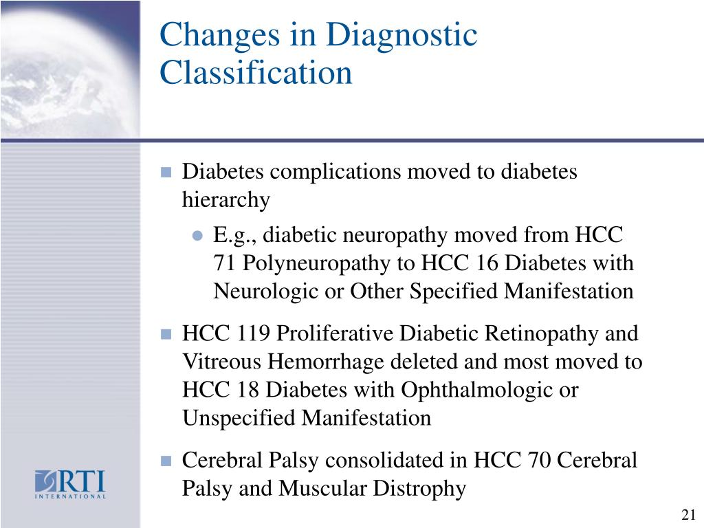 Changes in Diagnostic Classification