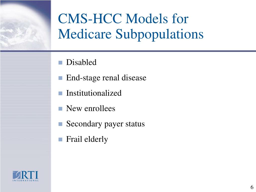 CMS-HCC Models for Medicare Subpopulations