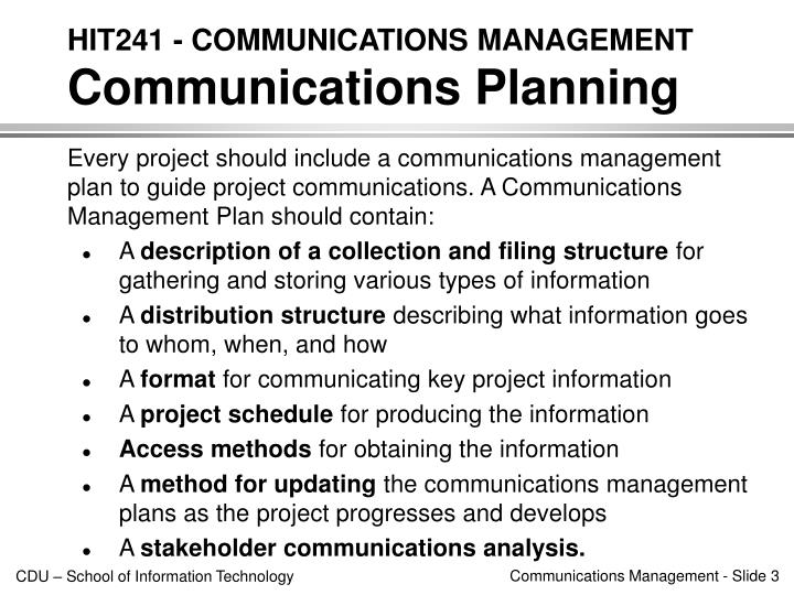 Hit241 communications management communications planning