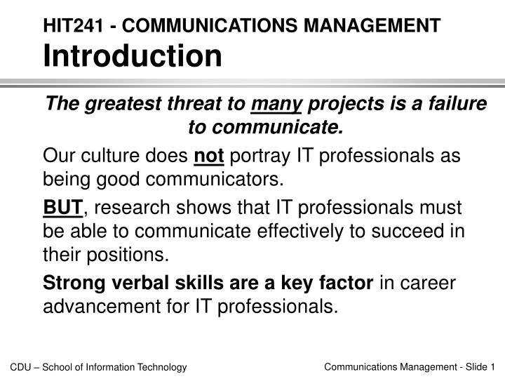 Hit241 communications management introduction