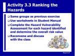 activity 3 3 ranking the hazards